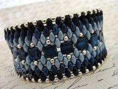 Denim Blue and Silver Super Duo Cuff Bracelet by tattooedraven