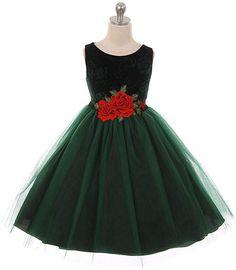 dbb283b19651 Green Velvet Rose-Applique Sleeveless Dress - Girls Toddler Formal Dresses, Toddler  Girl Dresses
