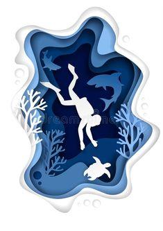 Underwater Scuba Diving Vector Paper Cut Illustration Stock Vector - Illustration of diver, shark: 127655229 3d Paper Art, Paper Artwork, Paper Crafts, Kirigami, Paper Cutting, Arte Pop Up, Kalender Design, Arte Alien, Libros Pop-up