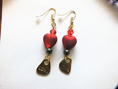 Valentine's Day Dangle Drop Earrings with Red Heart Bead, Antiqued Gold Love Charm and Gold Plated Fish Hooks EH10116 by BlingItOutLoudCharms on Etsy