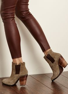 Suede booties with a stacked heel