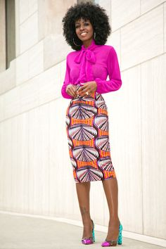Front Tie Blouse + Printed Midi Skirt