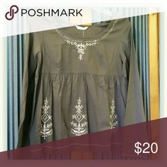 """Embroidered Boho Peasant Top Dark grey peasant top with cream embroidery,  beads, and sequins. 100% cotton. Bust measures 20"""" across. NWT Promod Tops"""