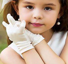 Satin doigt courts enfants gants poignet de mariage Pageant d'anniversaire faveur  2.62€