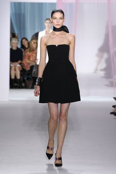 Dior Spring Summer 2013 Ready-to-Wear – Look 5: Black silk tuxedo bustier dress. Discover more on www.dior.com #Dior#PFW