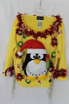 Deb Rottum's *** Tacky Ugly Christmas Sweater Women's Size XL Penguin #SagHarbor #sweater
