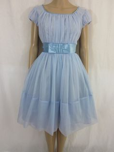1960s Blue MadMen Cocktail Prom Dress Dead Stock with Original Tags by MarigoldVintageWear, $98.00