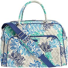 Vera Bradley Weekender - Santiago - Luggage Totes & Satchels ($98) ❤ liked on Polyvore featuring bags, luggage and blue