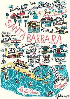 Santa Barbara Cityscape by Julia Gash Santa Barbara Mission, Santa Barbara Map, Los Padres National Forest, Large Art Prints, California Dreamin', Montecito California, Northern California, Cityscape Art, Travel Posters