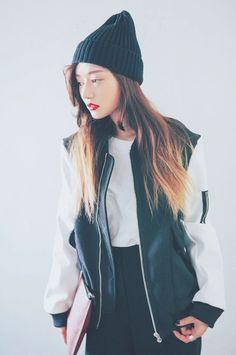 STREETWEAR: black beanie, baseball jacket, white T, black pants