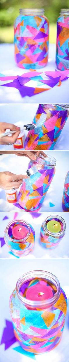 Colorful garden lanterns Could be done with small mason jars....
