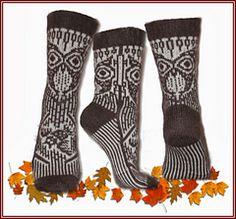 Owl socks Viking Ugla socks by Hilde Aas Fair Isle Knitting, Knitting Socks, Free Knitting, Knitting Patterns, Crochet Patterns, Knit Socks, Pixel Crochet, Knit Or Crochet, Owl Socks