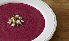 This shocking-purple soup with a delicious topping is fantastic on a hot summer day. Photography: Kim Lightbody for the Guardian.