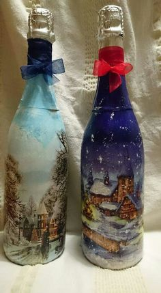 Decoupage, Eggs, Bottle, Home Decor, Bottles, Christmas, Painted Bottles, Homemade Home Decor, Egg
