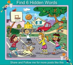 Posted to FB Can you find the 6 hidden words in this picture? Hidden Words In Pictures, Hidden Picture Puzzles, Word Pictures, Word Riddles, Word Puzzles, Word Games, English Activities, Fun Activities, English Games