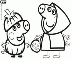 Free The two little pigs, the Pig brothers, Peppa and George with their costumes and Halloween pumpkins coloring and printable page.