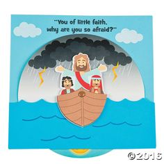 Teach kids how their faith can help weather the storm with this fun religious craft! Perfect for Vacation Bible School, Bible Study lessons and primary . Sunday School Crafts For Kids, Bible School Crafts, Sunday School Activities, Sunday School Lessons, Preschool Crafts, Jesus Calms The Storm, Miracles Of Jesus, Bible Study Lessons, Calming The Storm