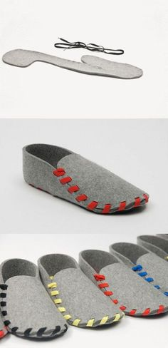 one piece slippers! easy to make from felted sweaters