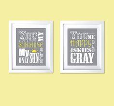 items similar to gift for kids you are my sunshine prints grey yellow nursery wall art decor retro modern nursery prints on etsy
