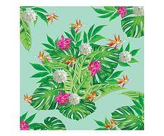 Tela in canvas Foglie e fiori sfondo celeste - 40x40 cm