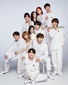 When Blackpink the up rising girl group partners up with BTS one of the most phenomenal boy group that exist. Bts Group Photos, Blackpink Photos, Bts Pictures, Bts Bangtan Boy, Bts Jimin, Suga Suga, Bts Show, Bts Fanfiction, Best Photo Poses