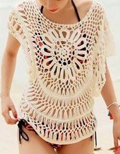 Love! Cute Crochet Lace Scoop Neck Women's Beach Fashion #Cute #Crochet #Lace #Womens #Beach #Fashion