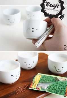 Sketch a cute design onto white teacups using a ceramic marker, then bake to set it. | 55 Incredibly Clever DIYs You'll Actually Want To Try