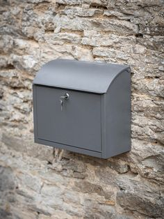 Large Wall Mounted Outdoor Charcoal Lock Mailbox Outside Steel Post Letter Box Wall Mount Mailbox, Mounted Mailbox, Post Boxes Uk, Wooden Garden Ornaments, Exterior Wood Paint, Exterior Doors, Post Box Wall Mounted, Wand Organizer, Mailbox Landscaping