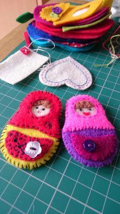 My Russian Doll felt brooches