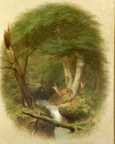 William Holbrook Beard (American, 1825-1900) Deer in the Forest Clearing