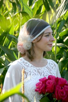 Lola - 1920s style Ivory Tulle Bridal Veil/ Headpiece with Ivory & Pale Pink Organza Rose Trim