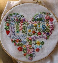 Heart embroidery sampler coração bordado