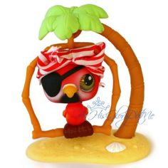 Littlest Pet Shop✵331✵RED WHITE PARROT BIRD✵PALM TREE HAT ACCESSORY✵COMPLETE LOT