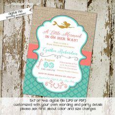 Printable Mermaid Baby Shower Invitations Shabby Chic Little Mermaid