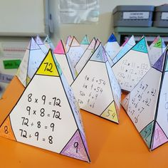 Students identify links between multiplication and division to help them learn basic number facts. Folds into a triangular pyramid for classroom display.Printable also available for Addition and Subtraction fact family. Math For Kids, Fun Math, Math Activities, Division Activities, Teaching Multiplication, Teaching Math, Multiplication And Division, Teaching Resources, Interactive Notebooks