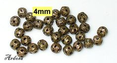 30 Perlen Bronze Filigran Metallperlen 4mm  von Schmuckmaterial