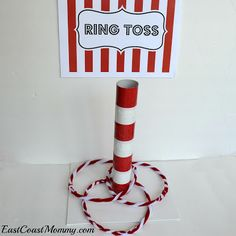 Ring Toss: Paper towel tube & glued to canvas.  Rings are pipe cleaners woven together.