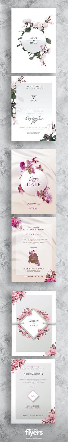 3 Wedding Flyer Templates | Bundle - Creativeflyers Wedding Invitation Templates, Wedding Invitations, Creative Flyers, Flyer Template, Wedding Invitation Cards, Wedding Invitation Design, Wedding Invitation, Wedding Announcements