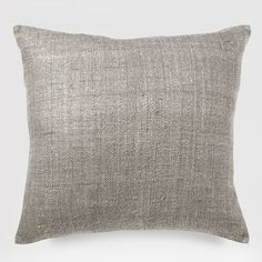 Silk Hand-Loomed Pillow Cover in Platinum ~ West Elm Bed Throws, Bed Pillows, Cushions, Accent Pillows, West Elm Bedding, Linen Bedding, Bed Linens, Modern Pillows, Textiles