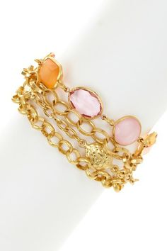 Multicolor Crystal Chain Link Bracelet by Savvy Cie on @HauteLook