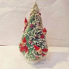 Vtg MCM Bottle Brush Tree Xmas Putz w Mercury Glass Spun Cotton Santa Elf Japan