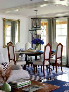 Madeline Weinrib Indian Blue Classic and Indigo Keri Cotton Carpets, Interior design: Anne Miller, Photo: Michael Partenio, Via New England Home