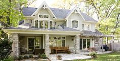David small designs new homes mineola cottage-rear. House Siding, House Paint Exterior, Exterior Design, Exterior Colors, Cottage Design, House Design, Future House, My House, Cottage Exterior