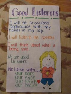 Anchor Charts For Pre-K listeners Classroom Charts, Classroom Behavior, Classroom Rules, Classroom Posters, Future Classroom, Classroom Organization, Classroom Management, Classroom Ideas, Behavior Management