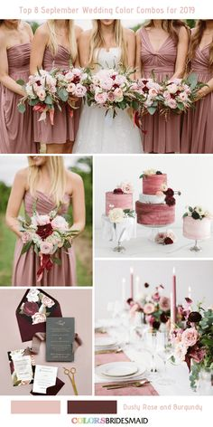 Top 8 September Wedding Color Combos for 2019 - Dusty Rose + Burgundy. themes dusty rose Top 8 September Wedding Color Combos for 2019 Wedding Cake Roses, Dusty Rose Wedding, Fall Wedding Flowers, Fall Wedding Colors, Burgundy Wedding, Pastel Wedding Colors, Burgundy Top, Burgundy Color, Autumn Wedding
