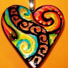 "Description: Handpainted Rainbow  HEART PENDANT Hand Painted Wearable Art Ceramic Pendant Measures: 1-1/4"" heart WEAR IT! WEAR THE ART!  =============================="