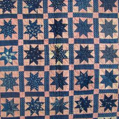 "19thC Folk Art Crib Quilt Variable Star Blue Calico All Handsewn Quilted Antique, 30 x 40"", eBay, njsdolls2"