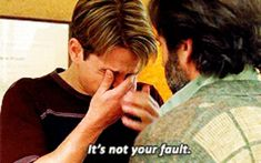"""This moment between Sean and Will. - 16 Unforgettable Moments From """"Good Will Hunting"""" 90s Movies, Series Movies, Good Movies, Movie Tv, Cinema Tv, I Love Cinema, Good Will Hunting Quotes, Movies Showing, Movies And Tv Shows"""