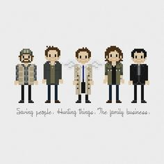 Supernatural (Bobby, Dean, Castiel, Sam, Crowley) inspired cross stitch pattern PDF instant download includes: Full color, easy-to-read chart