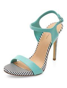 Mint Green Stripe Trim Ankle Strap Heels | New Look